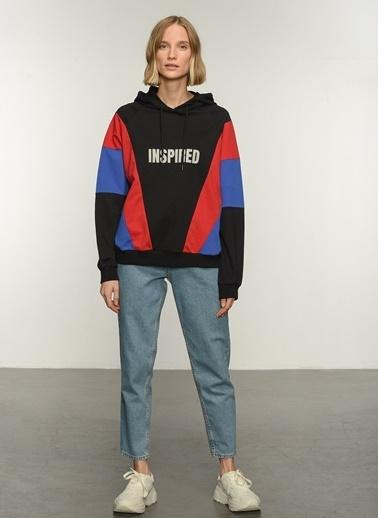 People By Fabrika PFKAW21SW0039 Renk Bloklu Baskılı Sweatshirt Siyah